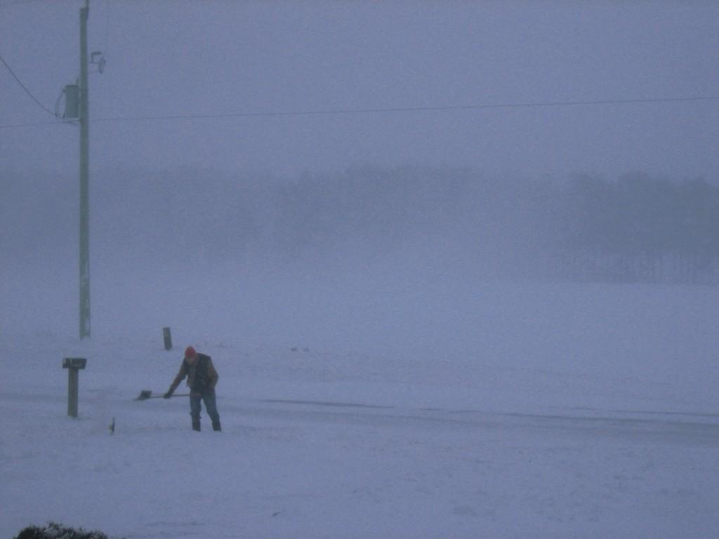 Shoveling snow winter