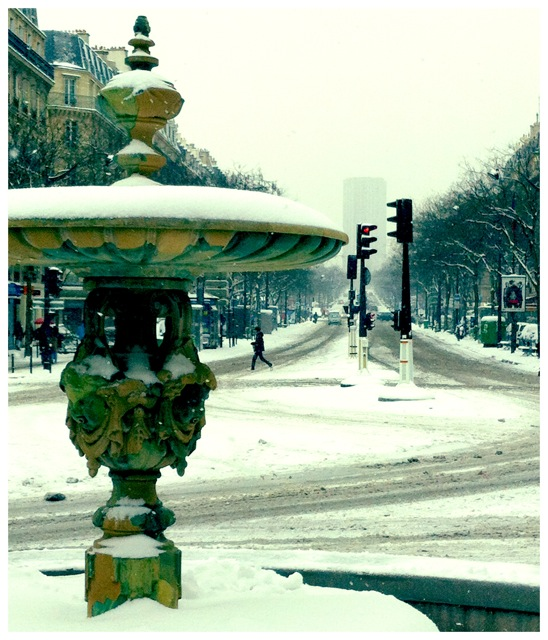 Paris Fountain in Snow