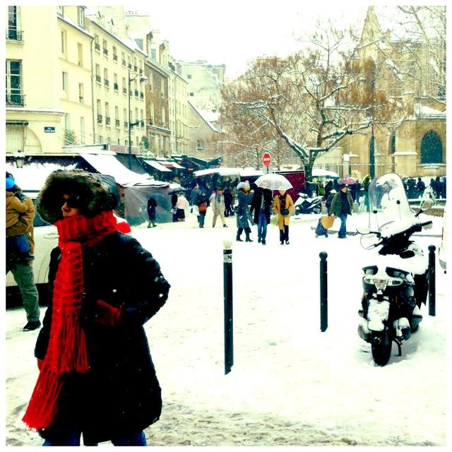 Red Scarf Paris Snow