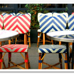 Stripes in red, white and blue