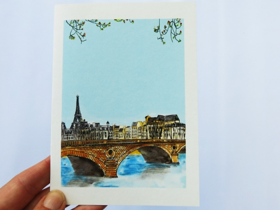 Note Card: Paris Bridge