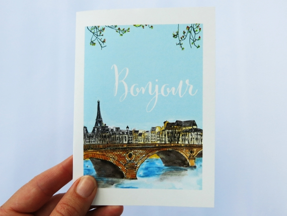 Note Card: Bonjour