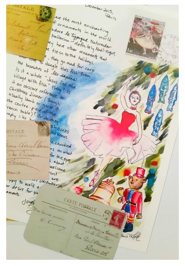 Paris Letter December Ballerina with postcards