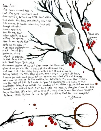 Painted Letter March 2016 Chickadee Aine 350